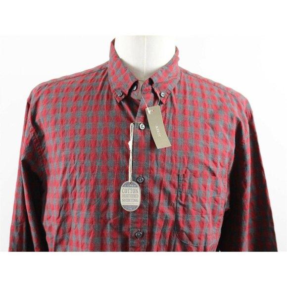 NWT J.Crew Slim Secret Wash Button Down Shirt MENS XL Red Gingham Heather Poplin